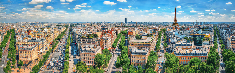 Fototapeta Beautiful panoramic view of Paris from the roof of the Triumphal Arch. Champs Elysees.