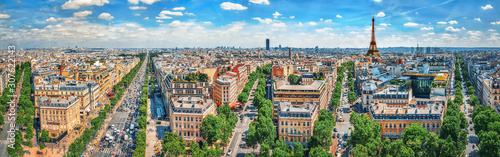 Photo Beautiful panoramic view of Paris from the roof of the Triumphal Arch