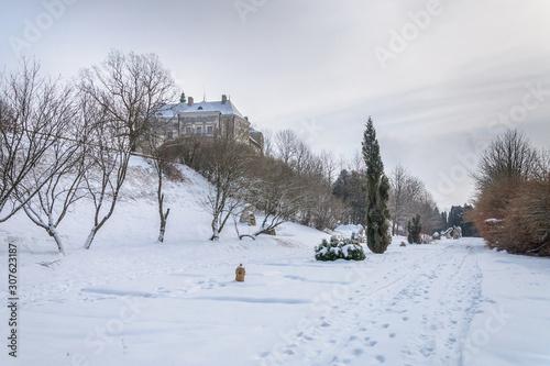 Fotobehang Castle and park in winter