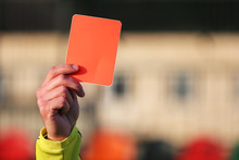 Football Referee Shows A Red C...