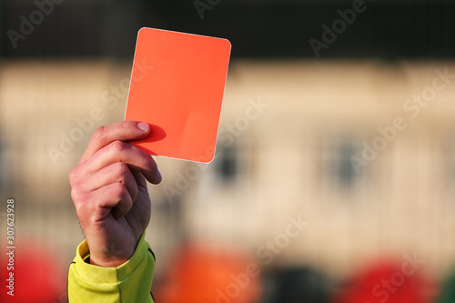 Football referee shows a red card. Canvas Print