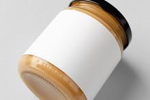 Peanut, Almond, Nut Butter Jar Mockup With Blank Label. Closeup.