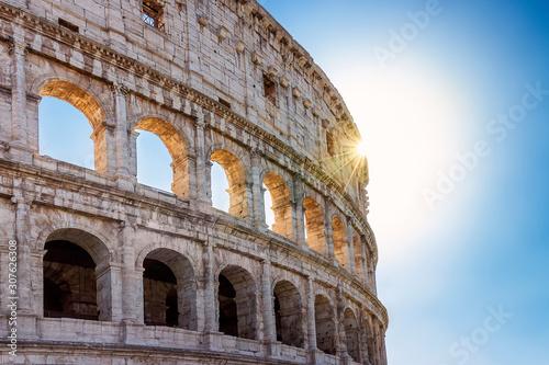 Fototapeta  coliseum, facade backlight, sunset