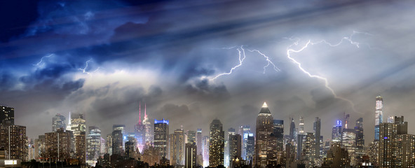 Panoramic skyline of Midtown Manhattan with storm approaching, New York City, USA