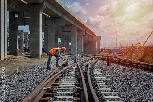 Fotografie, Obraz Engineer train on the railway