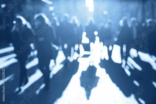 Fényképezés Blurred unrecognizable blue crowd of people