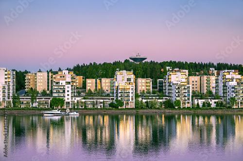 Foto auf AluDibond Rosa hell architecture, beautiful, blue, boat, building, city, cityscape, europe, famous, finland, harbor, house, jyvaskyla, lake, landmark, landscape, night, old, outdoor, panorama, pier, port, scandinavia, sc
