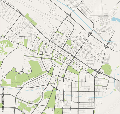 Photo map of the city of Ashgabat, Turkmenistan
