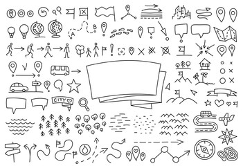 Travelers notes. Map set doodle background. Geographical. Yearbook cover. Copy space. Hand drawn sketch vector black line contour.