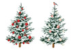Christmas tree decor red and white balls winter woodland clip art.