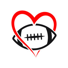 American Football Heart Vector...