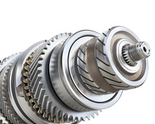 Stack Of Gears Isolated On A White Background. 3d Illustration
