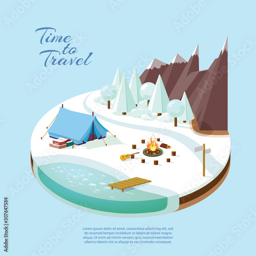 Photo winter tourism in the mountains near the river in the forest isometric, by car t