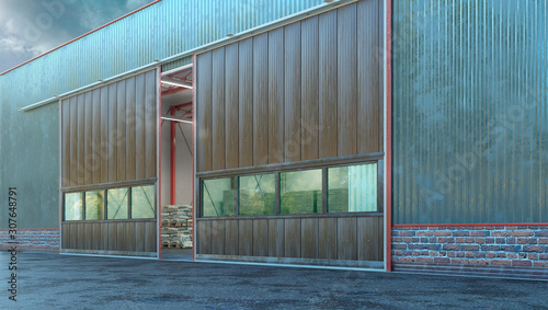 Fotografía  Hangar exterior with sectional gate. 3d illustration