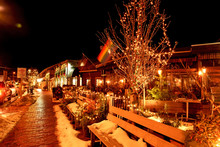 Streets Of A Small Night City On The Eve Of Christmas And New Year Holidays. American Town On The Ocean Coast. USA. Maine
