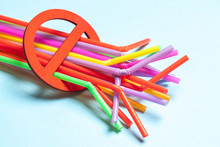 Ban On Plastic Straws For Drinks. Prohibition Sign And Plastic