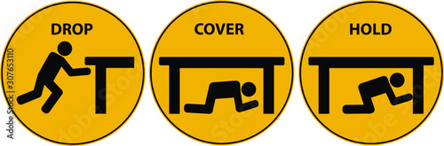 Drop, cover, hold sign. Earthquake vector icon. Fototapet