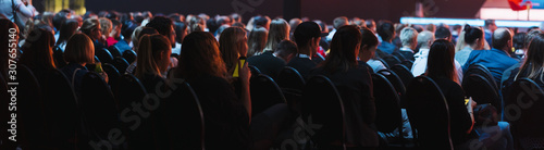 Fotografía  header cover page of Rear view of Audience listening Speakers on the stage in th