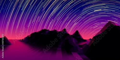 Fond de hotte en verre imprimé Violet Mountain landscape with 80s styled synth wave polygonal grid and star trail over the purple horizon