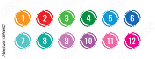 Fototapeta colorful 1-12 numbers. numbers in circle. colored buttons and numbers obraz