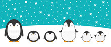 Cute Cartoon Penguin Family Greeting Card For Merry Christmas And New Year's Celebration Under Snow And Stars Doodle Vector Illustration.