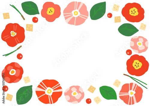Obraz na płótnie 椿の花 フレーム 横