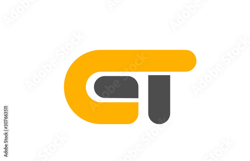 Cuadros en Lienzo  yellow grey combination logo letter GT G T alphabet design icon
