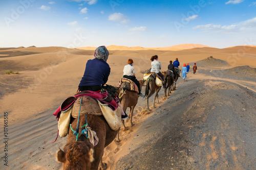 Photo camel caravan in the desert