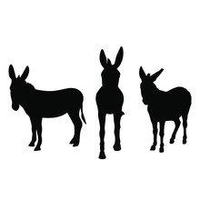 Donkeys Silhouettes Black Ink ...