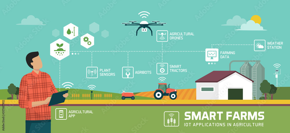 Fototapeta Smart agriculture and IOT