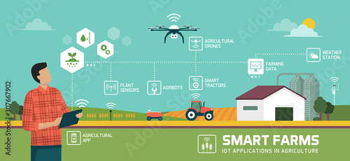 Obraz Smart agriculture and IOT - fototapety do salonu