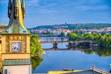 The Rooftops Along The Vltava River In Prague, Czech Republic.