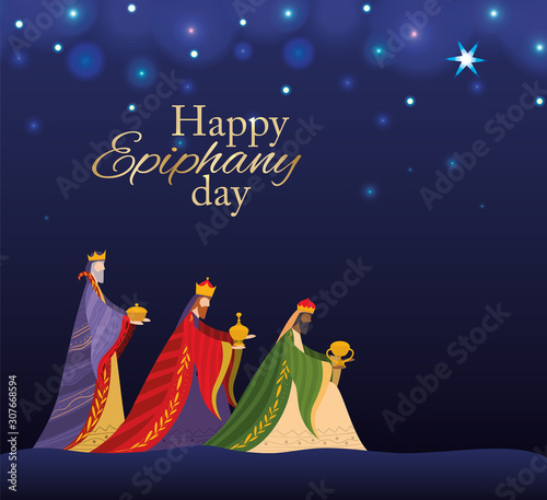 Leinwand Poster Happy epiphany day vector design