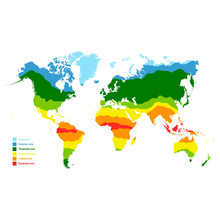 Vector Map With World Climate Zones