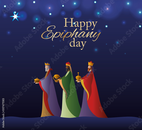 Foto Happy epiphany day vector design