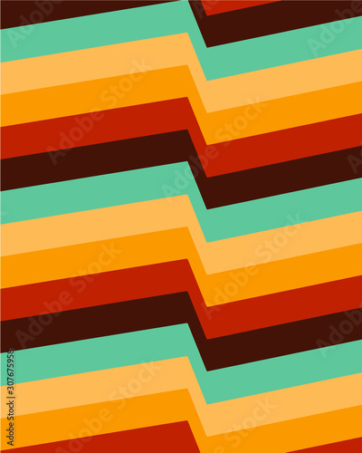 Papel de parede Retro color palette background geometric lines seventies inspired wallpaper