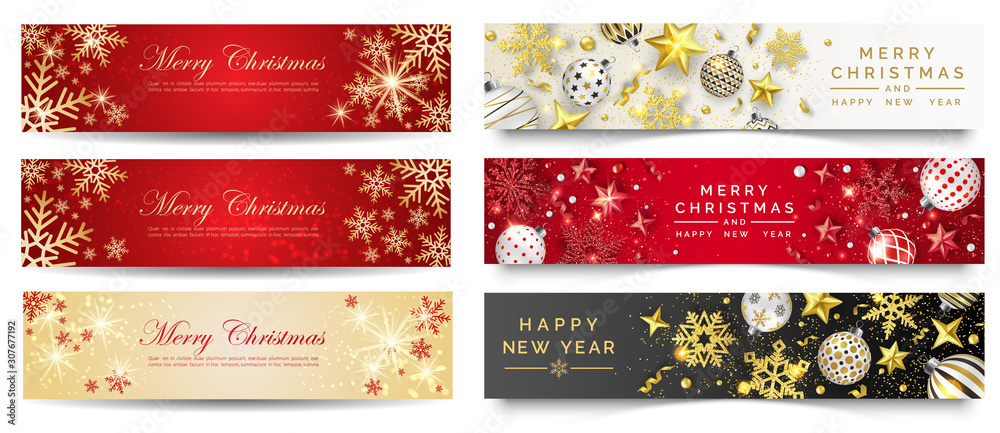 Fototapeta Red and gold christmas banners