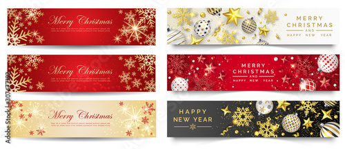 Canvastavla  Red and gold christmas banners