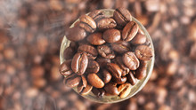 Coffee Beans In The Glass Bowl...