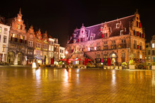 De Grote Markt Square In The Center Of Nijmegen At  Night, Netherlands
