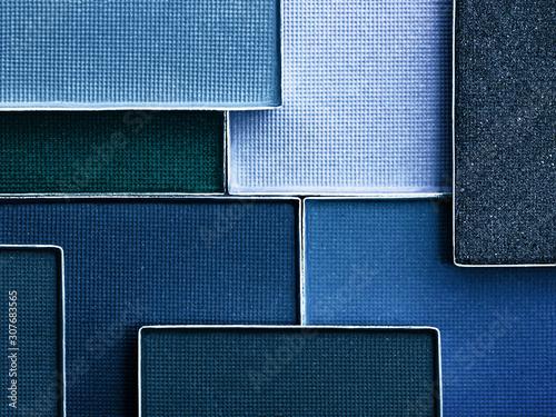 Fotografie, Tablou  Blue Eyeshadow palette background.