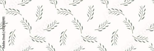 Cuadros en Lienzo  Watercolor Stem Leaf Motif Banner Background