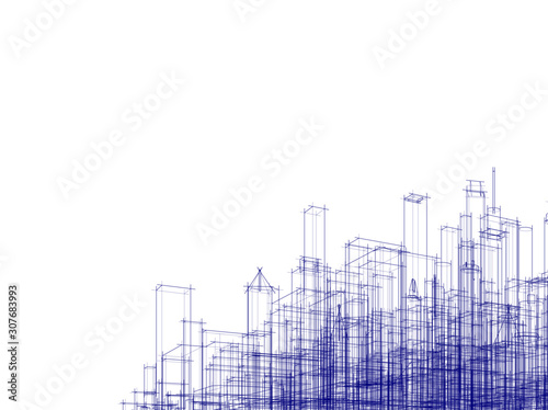 Fototapeta Concept city architecture vector illustration obraz na płótnie