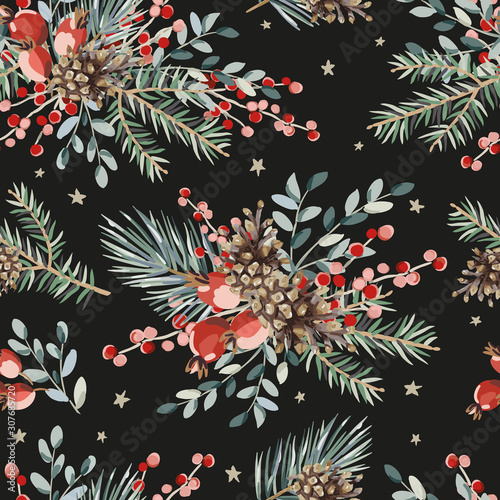 obraz PCV Christmas seamless pattern, red berries, green fir, pine twigs, cones bouquets, stars, black background. Vector illustration. Nature design. Season greeting. Winter Xmas holidays