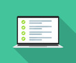 Laptop with online checklist in a flat design. Vector illustration