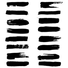 Black Ink Vector Brush Strokes Set Vector Brush