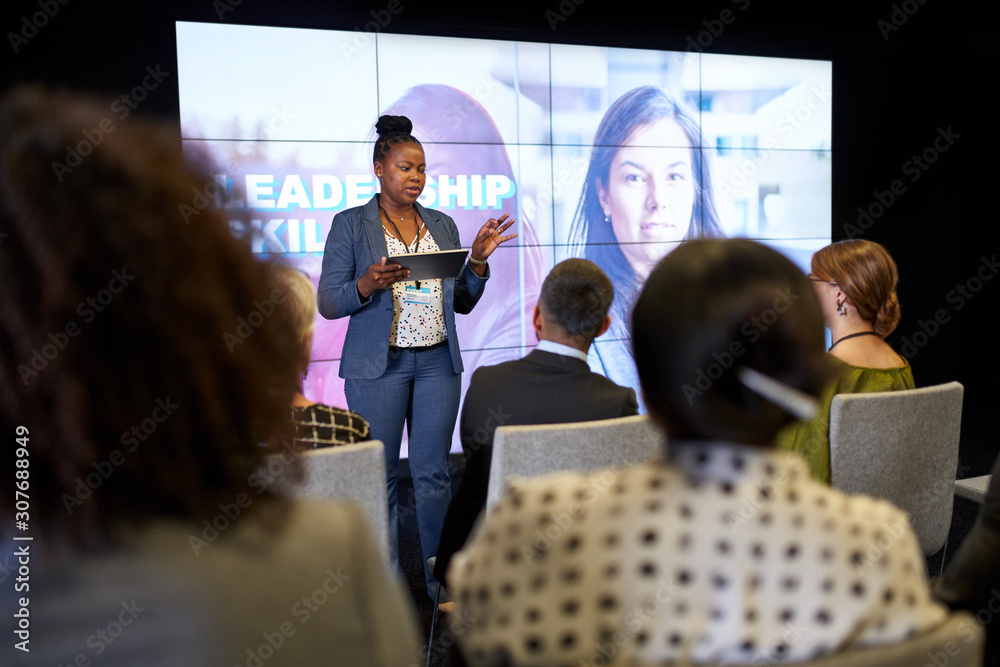 Fototapeta Female-driven presentation by pretty millennial African American