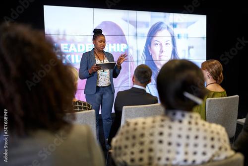 Fototapeta Female-driven presentation by pretty millennial African American obraz