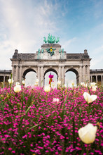 Brussels, Belgium. Famous Triumphal Arch - Entrance To The Cinquantenaire Park Or Jubelpark.