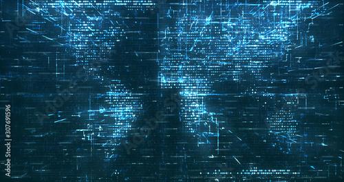Fotomural  Abstract digital network data background, 3D rendering